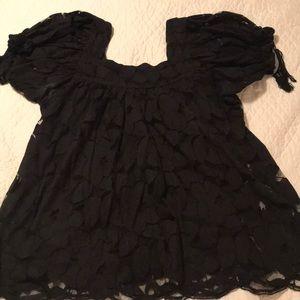 Black flower lace Top